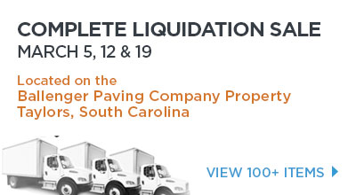Complete Liquidation Sale.MARCH 5 & 12. Located on Taylors, South Carolina