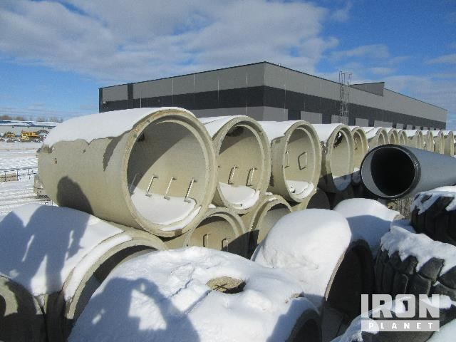 Lot of Concrete Pipes, Manhole Cone Tops, & Manhole Sections