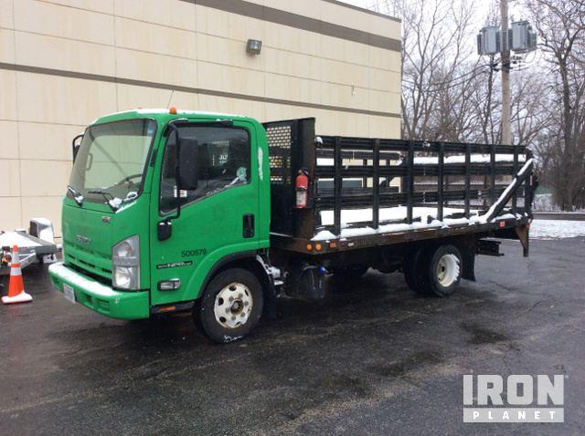2011 Isuzu NPR Flatbed Truck in Wood Dale, Illinois, United
