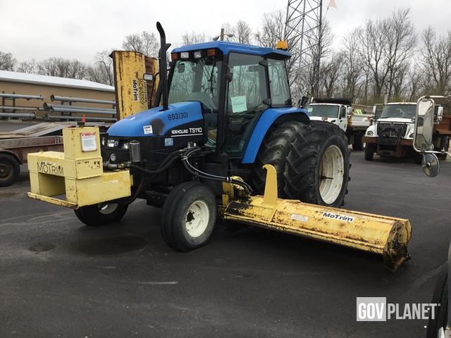 2002 New Holland TS110 Tractor w/Flail Mower - 8931301 / D9-058 in