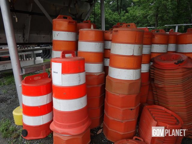 LOT OF (75) TRAFFIC BARRELS AND (78) BASES in Troy, Virginia, United
