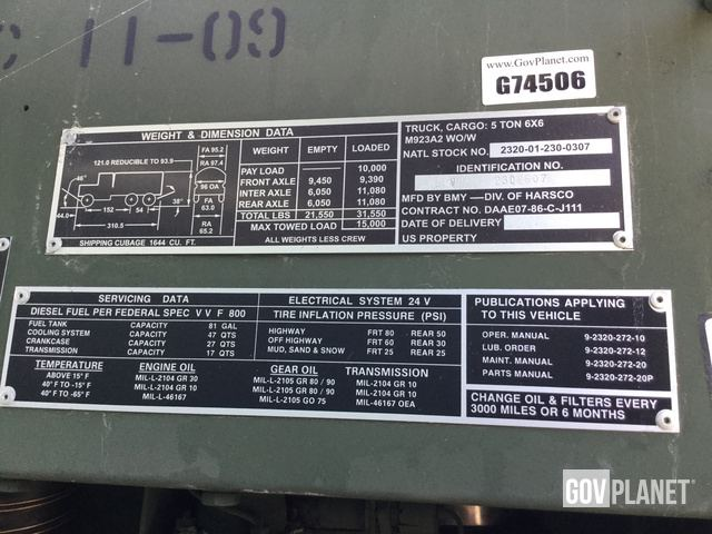 Surplus BMY M923A2 5 Ton 6x6 Cargo Truck In Fort Meade Maryland United States GovPlanet Item 1568243