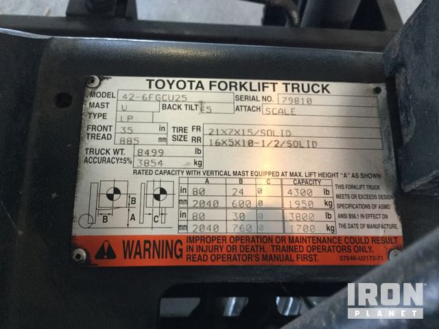 Toyota 426fgcu25 Cushion Tire Forklift In Danville Illinois. Toyota 426fgcu25 Cushion Tire Forklift In Danville Illinois United States Ironpla Item 1575430. Toyota. Toyota Forklift 42 6fgcu25 Wiring Diagram At Scoala.co