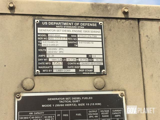 Surplus Libby MEP-804A 15kW Gen Set in Pearl Harbor, Hawaii