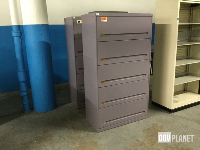 Metal Lateral Five Drawer File Cabinets 2 Items W 040 In