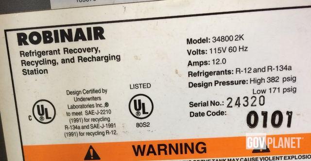 Robinair 34800 Automotive AC Refrigerant Recovery and