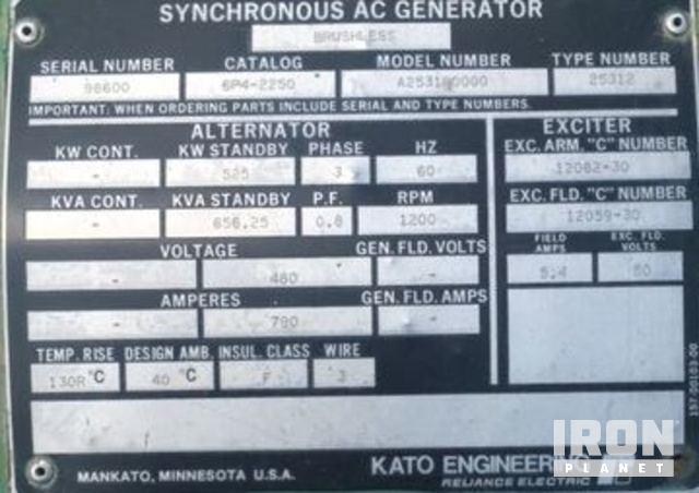 Generator, Kato, 525KW, 3 Phase, 60HZ, 656KVA, 460V, w