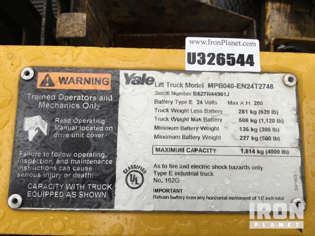 2011 Yale MPB040 EN24T2748 Pallet Jack In Chicago Illinois