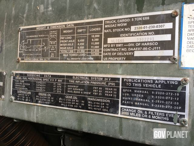 Surplus BMY M923A2 5 Ton 6x6 Cargo Truck In Fort Leonard Wood Missouri United States GovPlanet Item 1952466