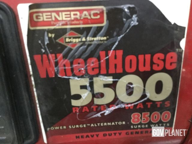 Surplus Generac Wheel House 5500 Portable Generator Set in