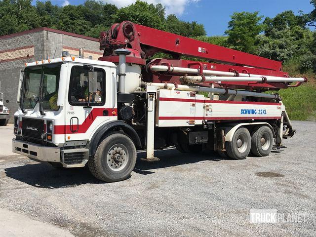Schwing 32XL Concrete Pump on 1996 Mack MR688S Truck