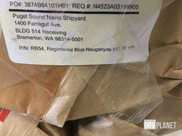 "Surplus (9) Rolls of Naugahyde RB54 Regimental Blue 54"" Vinyl Fabric"