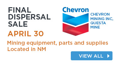 Mining equipment, parts and supplies located in NM. Featuring equipment from Chevron Mining Inc. Questa Mine.